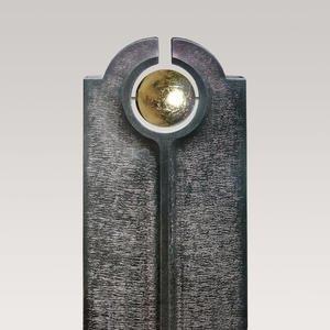 Novara Palla Moderner Granit Doppelgrabstein mit Goldener Kugel