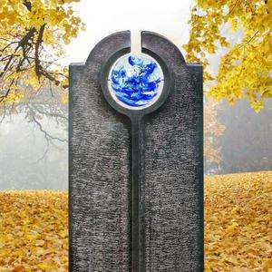 Novara Icona Moderner Granit Einzelgrabstein mit Blauer Glas Kugel