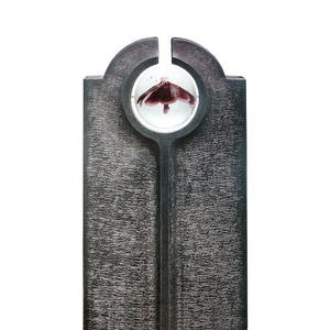 Novara Fiore Moderner Granit Einzelgrabstein mit Glas Kugel & Blume