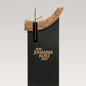 Chamisso Moderner Granit Grabstein für ein Urnengrab mit Bronze Kreuz