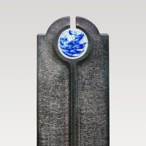 Novara Icona Moderner Granit Kindergrabstein mit Blauer Glas Kugel
