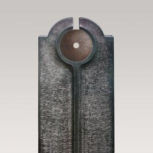 Novara Disco Moderner Granit Urnengrabstein mit Bronze Scheibe
