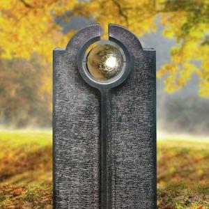 Novara Palla Moderner Granit Urnengrabstein mit Goldener Kugel
