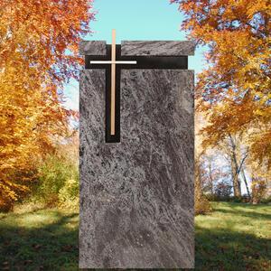 Parrot Moderner Urnen Grabstein aus Granit mit Bronze Kreuz