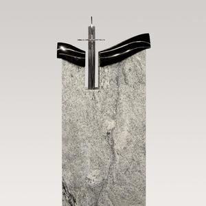 Saint Paul Moderner Urnengrab Grabstein aus Granit mit Edelstahl Kreuz