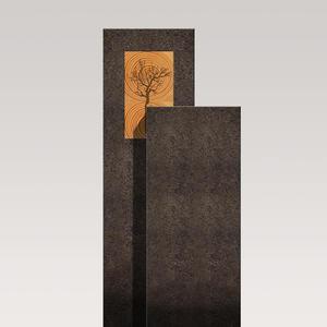 Amancio Lignum Moderner Urnengrabstein - Granit - Zweiteilig mit Holz & Lebensbaum