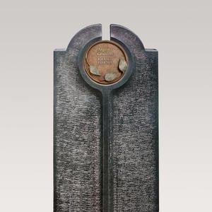 Novara Flora Moderner Urnengrabstein mit Bronze Schrifttafel Rund