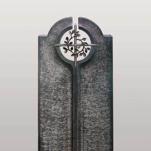 Novara Cruzis Moderner Urnengrabstein mit Floralem Bronze Kreuz Symbol