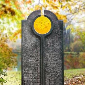 Novara Sole Moderner Urnengrabstein mit Glas Symbol Gelb
