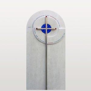 Toulon Modernes Grabdenkmal Farbig mit Glaseinsatz & Kreuz