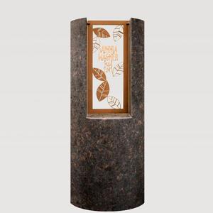Pagella Modernes Granit Einzelgrabmal mit Floralem Bronzeornament & Inschrift