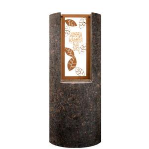 Pagella Modernes Granit Urnengrabmal mit Floralem Bronzeornament & Inschrift