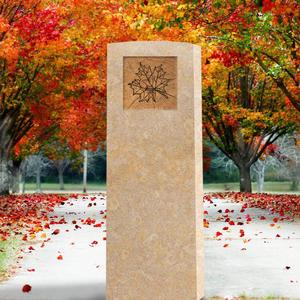 Circulum Modernes Urnengrabmal in Kalkstein mit Blatt Ornament