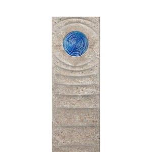 Levanto Celeste Muschelkalk Einzelgrab Grabstein mit Glas Element in Blau
