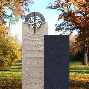 Sovello Cruzis Muschelkalk Einzelgrabmal Zweiteilig Hell/dunkel mit Bronze Kreuz