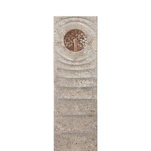Levanto Viva Muschelkalk Einzelgrabstein mit Bronze Platte & Lebensbaum