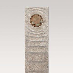 Levanto Florale Muschelkalk Einzelgrabstein mit Bronze Symbol Floral