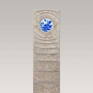Levanto Aqua Muschelkalk Einzelgrabstein mit Glas Kugel Blau
