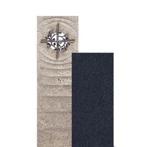 Sovello Spiritus Muschelkalk Einzelgrabstein Zweiteilig Hell/dunkel mit Bronze Kreuz