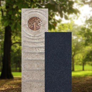 Sovello Viva Muschelkalk Einzelgrabstein Zweiteilig Hell/dunkel mit Bronze Lebensbaum