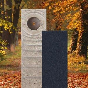 Sovello Momento Muschelkalk Einzelgrabstein Zweiteilig Hell/dunkel mit Bronze Symbol