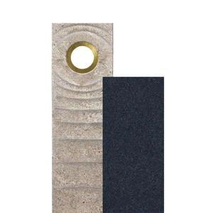 Sovello Vista Muschelkalk Einzelgrabstein Zweiteilig Hell/dunkel mit Bronze