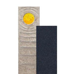 Sovello Sola Muschelkalk Einzelgrabstein Zweiteilig Hell/dunkel mit Glas in Gelb