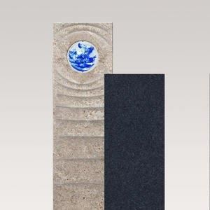 Sovello Aqua Muschelkalk Einzelgrabstein Zweiteilig Hell/dunkel mit Glaskugel