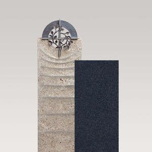 Sovello Cruzis Muschelkalk Urnengrabmal Zweiteilig Hell/dunkel mit Bronze Kreuz