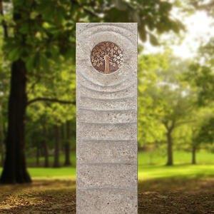 Levanto Viva Muschelkalk Urnengrabstein mit Bronze Platte & Lebensbaum