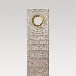 Levanto Vista Muschelkalk Urnengrabstein mit Bronze Symbol Lebenskreis