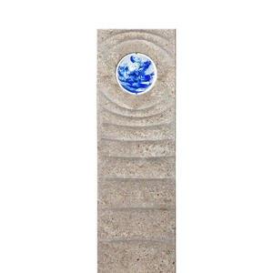 Levanto Aqua Muschelkalk Urnengrabstein mit Glas Kugel Blau