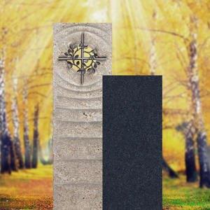 Sovello Spiritus Muschelkalk Urnengrabstein Zweiteilig Hell/dunkel mit Bronze Kreuz