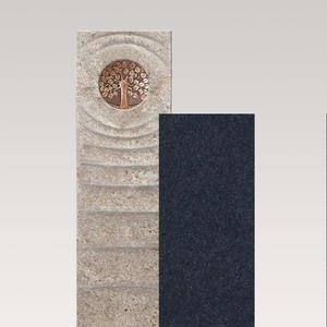 Sovello Viva Muschelkalk Urnengrabstein Zweiteilig Hell/dunkel mit Bronze Lebensbaum