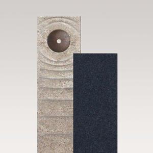 Sovello Momento Muschelkalk Urnengrabstein Zweiteilig Hell/dunkel mit Bronze Symbol