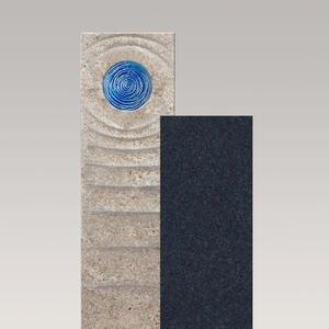 Sovello Celeste Muschelkalk Urnengrabstein Zweiteilig Hell/dunkel mit Glas in Blau
