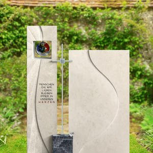 Solaris Maxima Naturstein Doppelgrabstein mit Glas & Metall