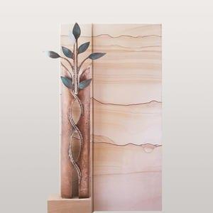 Sanremo Naturstein Einzelgrabstein mit Bronze Symbol Lebensbaum