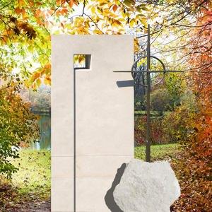 Monasterio Naturstein Grabmal Bronze Kreuz & Kugel