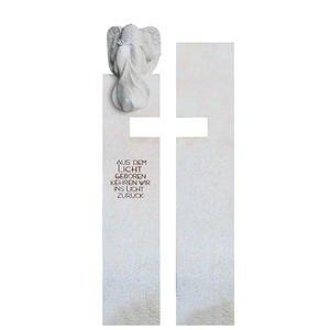 Antonio Angelo Naturstein Grabmal mit Kreuz & Engelfigur Gestaltet