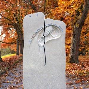 Nuovo Vivere Naturstein Urnengrabmal mit Hand Relief