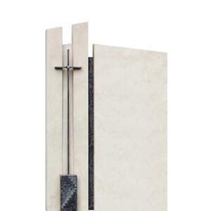 Clemenza Naturstein Urnengrabmal Zweiteilig Modern mit Kreuz