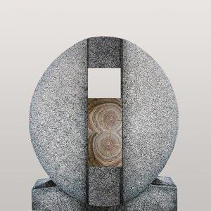 Aversa Legno Ovaler Granit Einzelgrab Grabstein mit Holz Symbol in Eiche