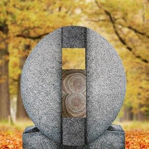 Aversa Legno Ovaler Granit Urnengrab Grabstein mit Holz Symbol in Eiche