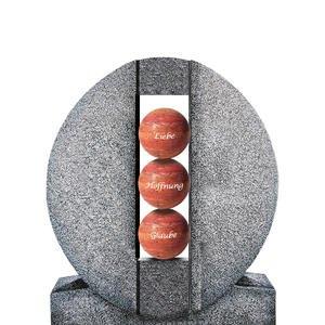 Aversa Palla Ovales Granit Einzelgrab Grabdenkmal mit Kugeln in Rot