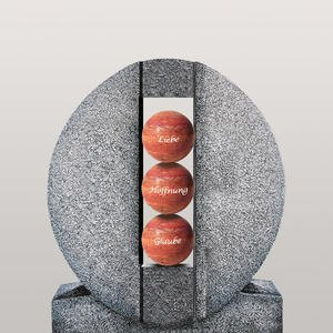 Aversa Palla Ovales Granit Urnengrab Grabdenkmal mit Kugeln in Rot
