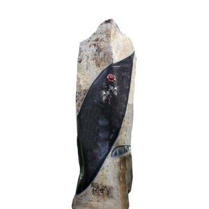 Merlana Romantischer Grabstein Basalt mit Rose