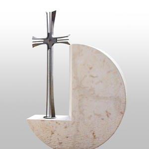 Montella Runder Grabstein mit Bronze Kreuz Grabdesign