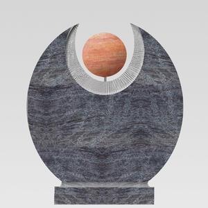 Martis Orion Runder Granit Doppelgrabstein mit Roter Travertin Kugel