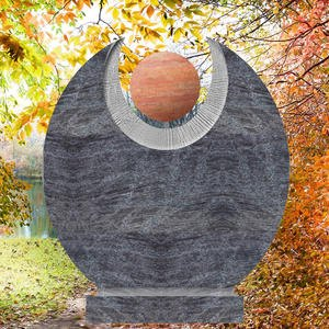 Martis Orion Rundergranit Kindergrabstein mit Roter Travertin Kugel